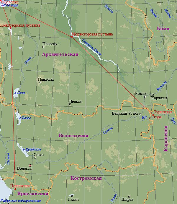 Красной линией обозначены пути странствия Леонида Устьнедумского от Пошехонья до Туринской горы. Рисунок Олега Давыдова