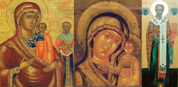 Иконы: Оковецкая, Казанская, Никола Тульский
