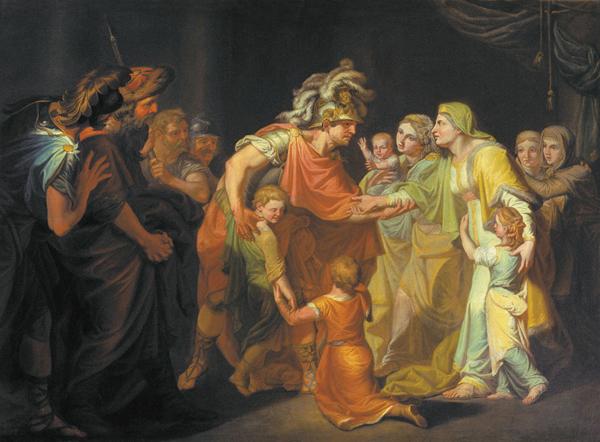 Великий князь Святослав, целующий мать и детей своих по возвращении с Дуная в Киев. Здесь не очень понятно, кто из детей кто. Но, кажется, Владимир самый маленький на руках у женщины, которая в таком случае Малуша. И. А. Акимов, 1773 г.