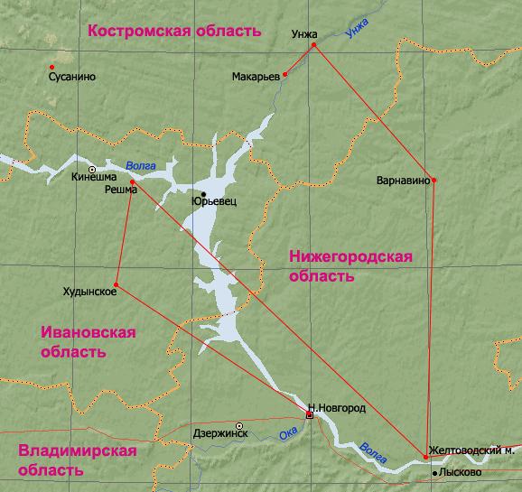 Карта странствий Макария от Нижнего Новгорода до Макарьева. Ответвление от Желтоводского монастыря вправо – путь на Казань