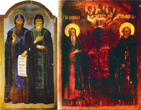 Слева Макарий Желтоводский и Тихон Лухский. Справа Макарий и Варнава Ветлужский
