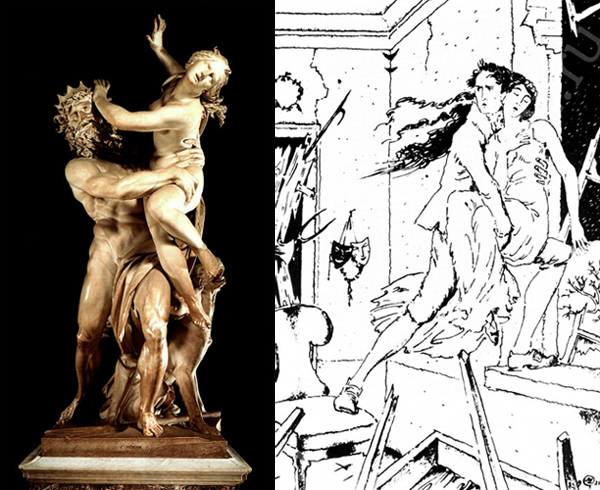 Слева похищение Прозерпины (римское имя Персефоны), скульптура Джанлоренцо Бернини, 1622 год. Справа иллюстрация к Бедной Лизе Карамзина. Мстислав Добужинский 1921 год