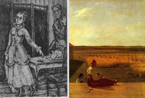 Слева иллюстрация к Запискам из подполья. Рисунок Юрия Васильева. Справа русская Деметра, картина Алексея Венецианова Жатва, 1827 год