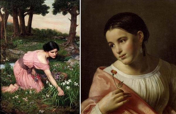 Слева Персефона, собирающая цветы на лугу, картина Джона Ватерхауса. Справа Бедная Лиза, картина Ореста Кипренского