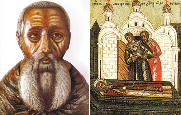 Слева Макарий Унженский. Последняя треть 18 века,Галич. Справа исцеление слепого у гроба преподобного Макария