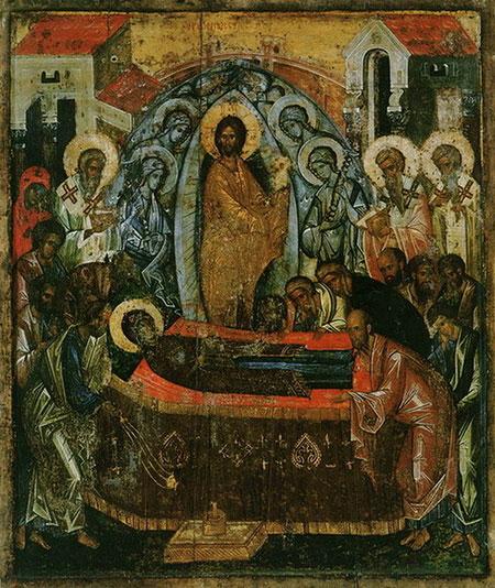 Икона Успения из церкви Успения Кирилло-Белозерского монастыря. XV век