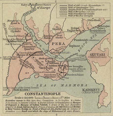Карта Константинополя. Галата на северном берегу Золотого рога