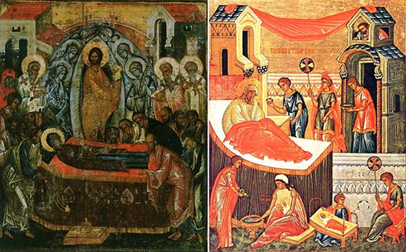 Слева — икона Успения, справа — Рождества Богородицы