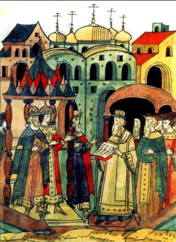Венчание на великое княжение Дмитрия, внука Ивана III. Миниатюра Лицевого летописного свода XVI века