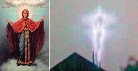 Слева Елецкая Богородица, справа феномен, который наблюдал весь Елец в апреле 2007 года
