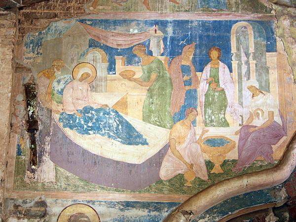 Рождество Богородицы. Фреска Дионисия из Ферапонтова монастыря