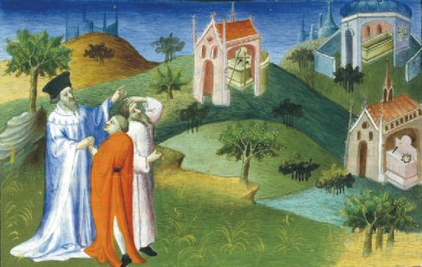 Паломники в Константинополе. Миниатюра 14 века