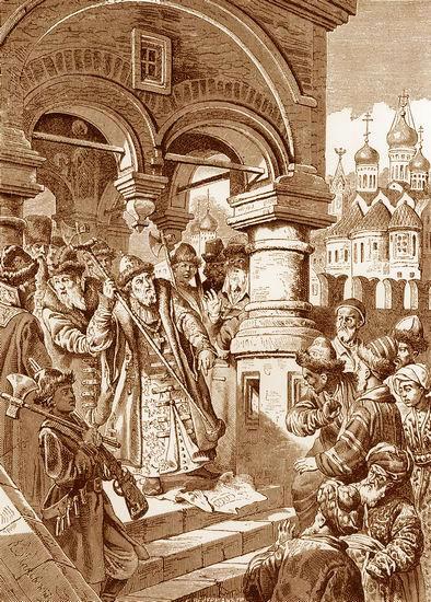 Иван III топчет басму хана Ахмата. Картина Константина Маковского