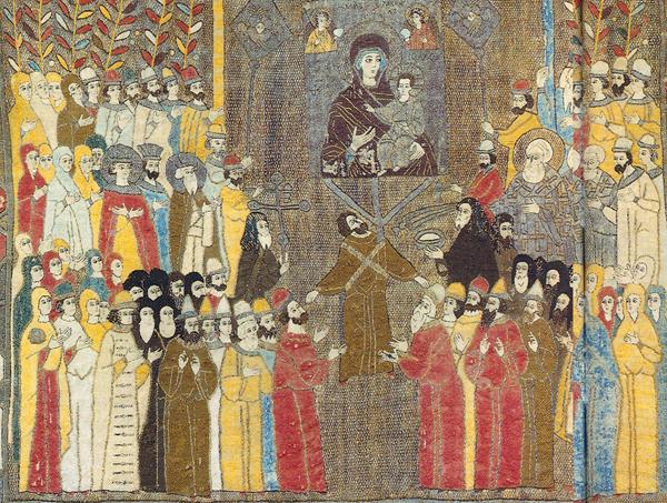 Пелена, шитая в мастерской Елены Волошанки, конец 15-го века. Здесь можно найти кое-кого из тех, кто упоминается в этом тексте