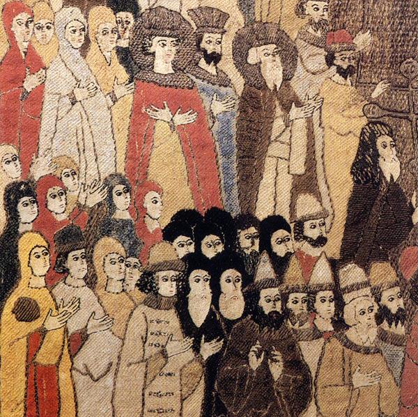 Фрагмент пелены из мастерской Елены Волошанки. В верхнем ряду великий князь Иван III, его сын Василий Иванович (будущий Василий III), Дмитрий Иванович (сын Елены), который в тот момент был наследником престола, и, конечно, сама Елена Волошанка (красавица в красном плаще со скрещенными на груди руками). Софья Палеолог стоит в нижнем ряду, самая левая, в желтом плаще