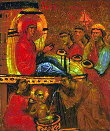 Рождество Богородицы. Синайская энкаустика XII века