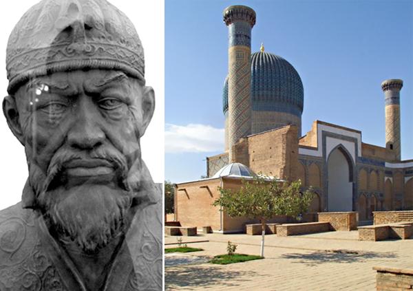 Слева Тамерлан. Справа его мавзолей в Самарканде