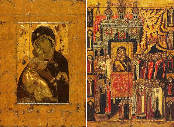 Слева владимирская Богородица, справа Сретенье Владимрской в Москве 8 сентября 1395 года