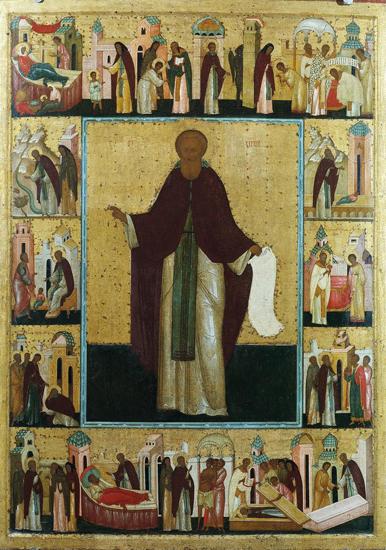 Сергий Радонежский в житии. Икона работы Дионисия
