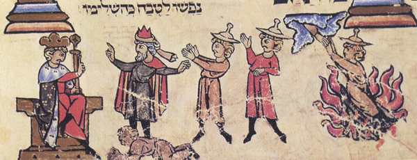 Фараон отпускает Авраама из Египта. Еврейская средневековая миниатюра