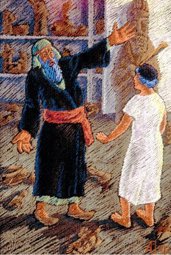 Фарра и Авраам у разбитых богов. Иллюстрация к Агаде Адольфа Ошерова