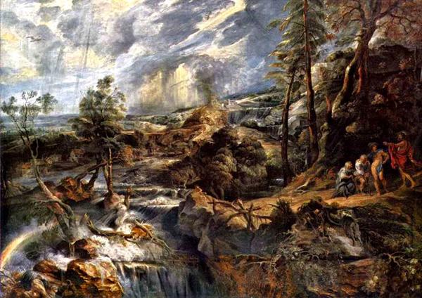Потоп устроенный богами. Филимон и Бавкида вместе с Юпитером и Меркурием справа на горке. Картина Питера Пауля Рубенса