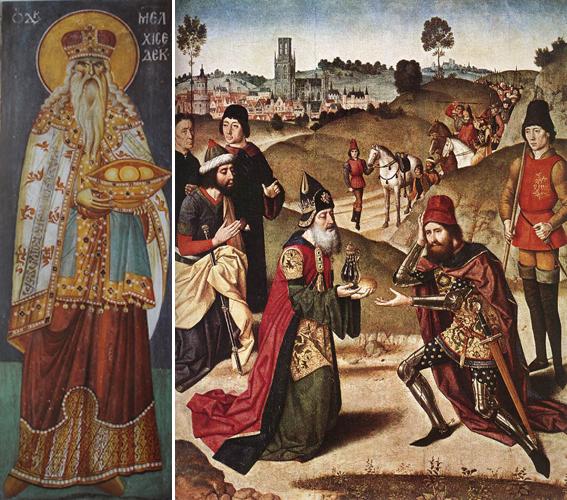 Слева Мелхиседек, фреска 17-го века. Справа Мелхисидек благословляет Авраама (рыцарь справа), картина Дирка Боутса старшего