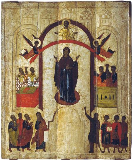 Икона Покрова из новгородского Зверина монастыря