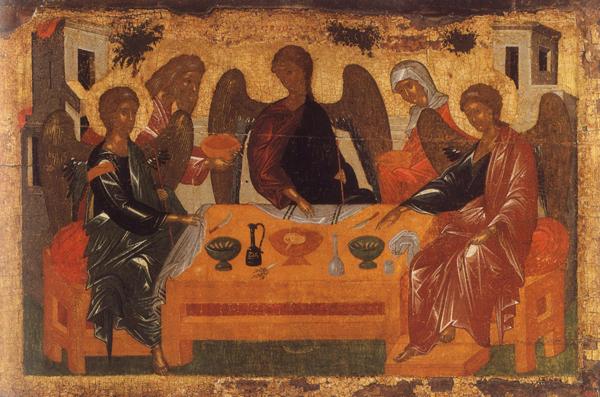 Ветхозаветная Троица (Гостеприимство Авраама). Византийская икона