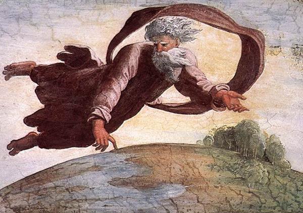 Творец отделяет воду от земли. Фреска Рафаэля. Но кого он изобразил?
