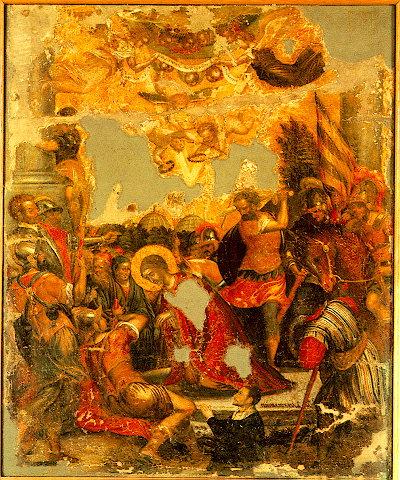 Греческая икона усекновения главы св. Параскевы Римской. Михаил Дамаскин, 16 век