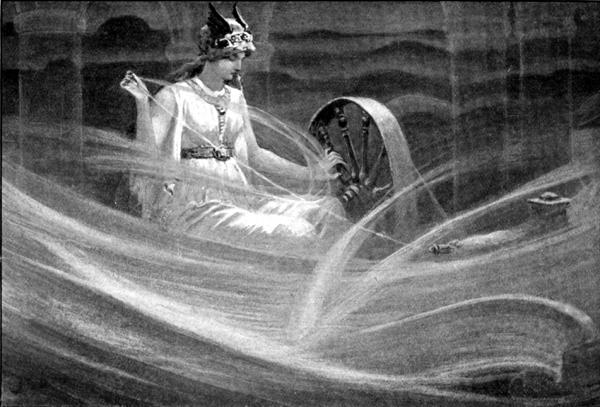 Скандинавская богиня Фригг прядет облака. Она очень близка нашей Мокоши.