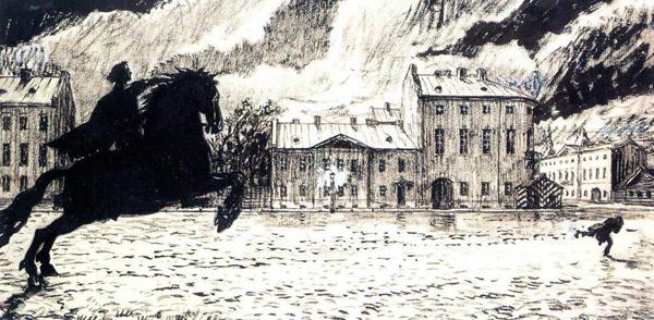 Иллюстрация к Медному всаднику Пушкина работы Бенуа