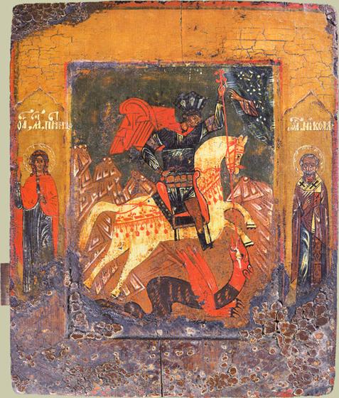 Икона Георгий Победоносец. На ней слева Пятница, а справа Никола