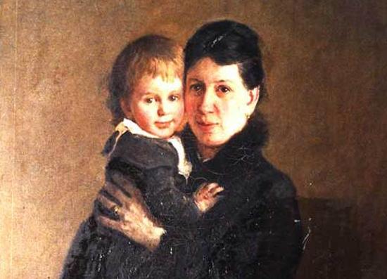 Софья Андреевна Толстая с дочерью Александрой. Портрет работы Николая Ге
