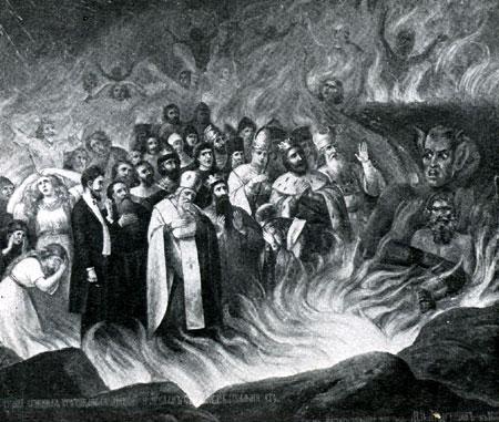 Лев Толстой в аду. Фрагмент стенной росписи из церкви села Тазова Курской губернии. 1883 год