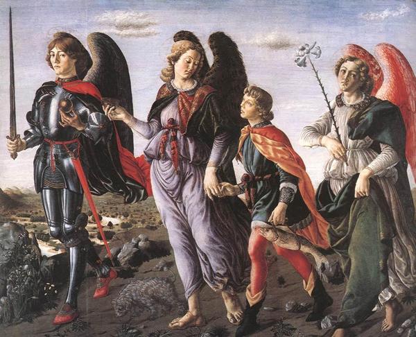 Архангелы Михаил, Рафаил и Гавриил сопровождают Товию. Франческо Боттичини, 1470 год