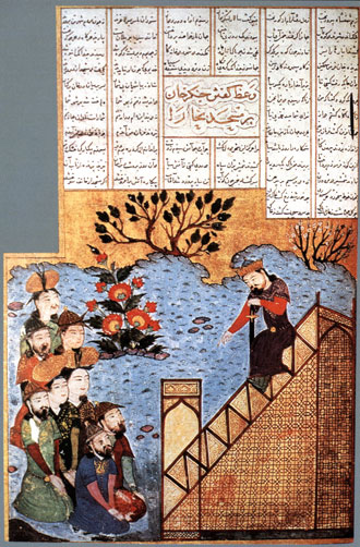 Чингисхан объявляет мусульманам в большой мечете в Бухаре, что он представлет собой Божью Кару. Средневековая миниатюра из сборника летописей Рашид ад-Дина