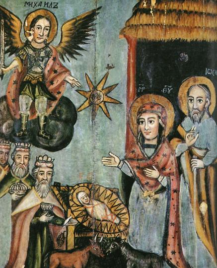 Икона Рождества из церкви села Латыгово Витебской области, 1746 год