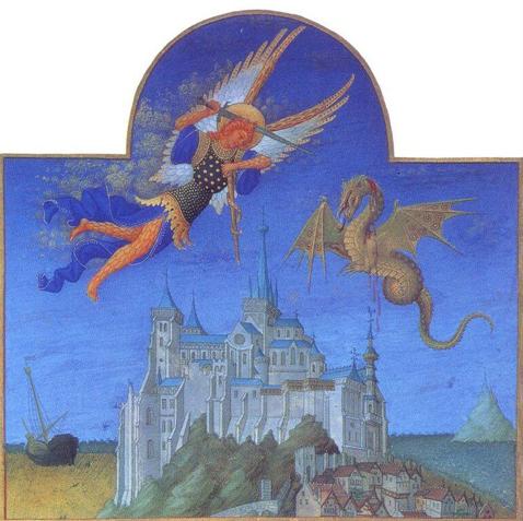 Битва Архангела Михаила с драконом над аббатством Мон-Сен-Мишель. Братья Лимбург. Часослов герцога Беррийского. Около 1414-1416 года