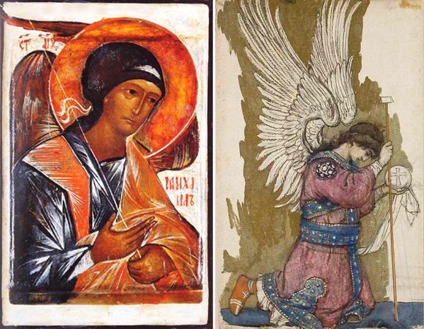 Архангел Михаил. Слева икона работы инока Григория Круга, 20 век. Справа картина Виктора Васнецова