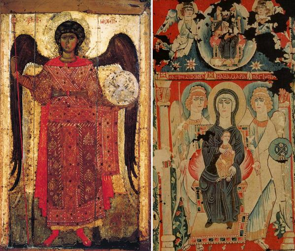Слева Архангел Михаил, Ярославская икона, около 1300 года. Справа Богоматерь на престоле с архангелами Михаилом и Гавриилом 6-7 век. Александрия, гобелен