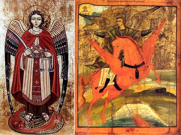 Михаил Архангел. Слева коптская икона. Справа Архангел Михаил - грозный воевода, русская икона
