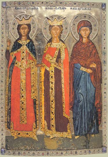 Мученицы Екатерина, Варвара и Параскева. Постоянным атрибутом Екатерины является колесо, на котором ее пытали. Оно похоже на колесо прялки, только с шипами. А вообще, на этой иконе явно изображены Три Грации, женская Троица