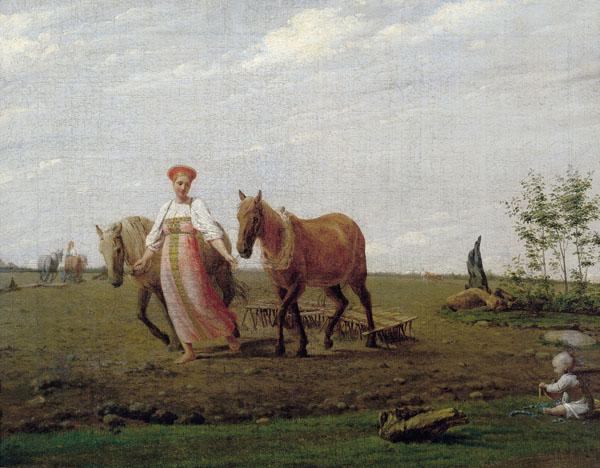 Так Мокошь представлена в живописи 19 века. Картина Венецианова Весна. Сравните этот сюжет с сюжетом вышивка на предыдущей картинке