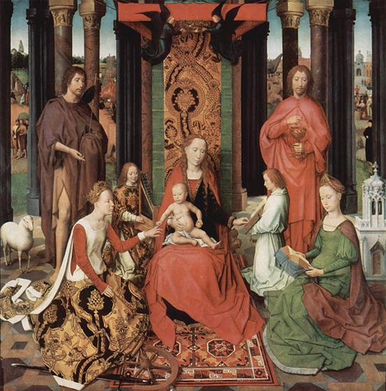Святая Екатерина обручается с Христом. Картина Ганса Мемлинга
