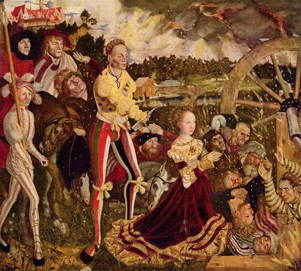Отсекание головы святой Екатерины сопровождается природным катаклизмом. Около колеса, кажется, лежат убитые до нее. Картина Лукаса Кранаха Старшего, 1506 год