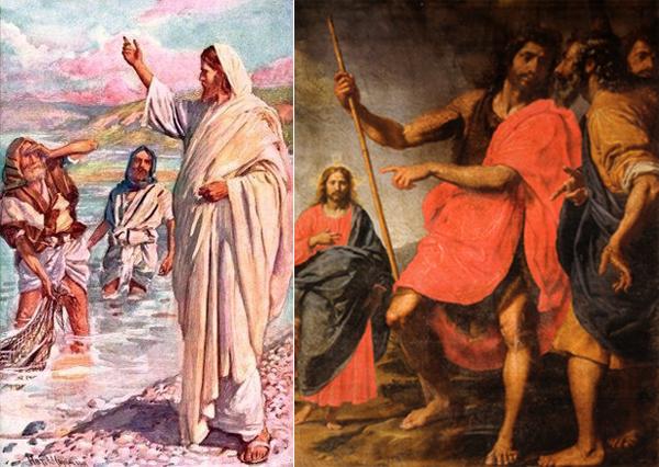 Призвание Андрея. Слева по версии Матфея, справа по Иоанну