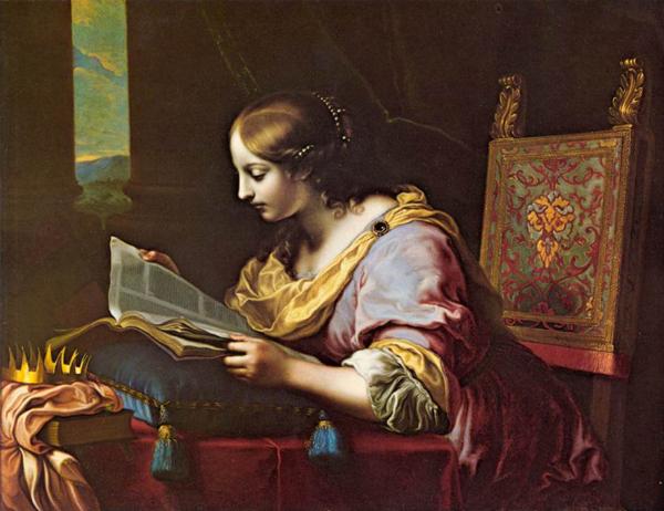 Святая Екатерина, читающая книгу. Картина Карло Дольчи