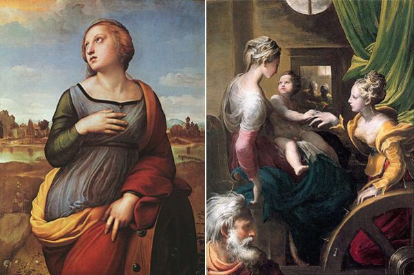 Святая Екатерина. Слева работы Рафаэля Санти, справа - Франческо-Маццуоли Пармиджанино (мистическое обручение Екатерины)
